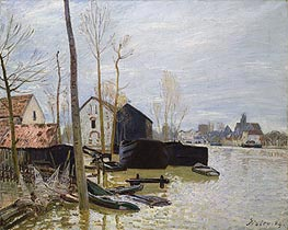 The Floods at Moret, 1889 von Alfred Sisley | Gemälde-Reproduktion