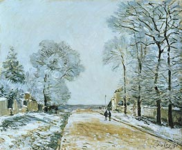 The Road, Snow Effect, Marly-le-Roi, 1876 von Alfred Sisley | Gemälde-Reproduktion