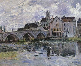 The Bridge of Moret-sur-Loing, 1887 by Alfred Sisley | Painting Reproduction