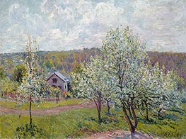 Spring in the Environs of Paris, Apple Blossom, 1879 by Alfred Sisley | Painting Reproduction
