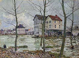 The Mills of Moret - Winter, 1890 by Alfred Sisley | Painting Reproduction