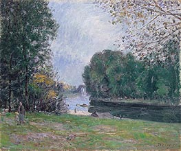 A Turn of the River Loing, Summer, 1896 by Alfred Sisley | Painting Reproduction