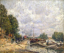 Barges at Billancourt, 1877 by Alfred Sisley | Painting Reproduction