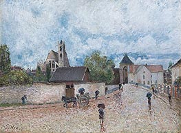 Moret-sur-Loing, Rain, c.1887/88 by Alfred Sisley | Painting Reproduction