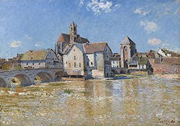The Bridge at Moret - Morning of April, 1888 by Alfred Sisley | Painting Reproduction