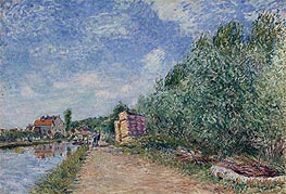 Loing Canal - Towpath, 1882 by Alfred Sisley | Painting Reproduction