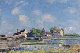 Boat Reparation in Saint-Mammès, 1885 by Alfred Sisley | Painting Reproduction