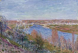 The Village of Champagne at Sunset - April, 1885 by Alfred Sisley | Painting Reproduction