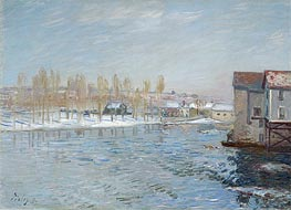The Loing and the Mills of Moret, Snow Effect, 1891 by Alfred Sisley | Painting Reproduction