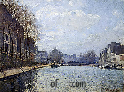 View of the Canal St. Martin, 1870 | Alfred Sisley | Gemälde Reproduktion