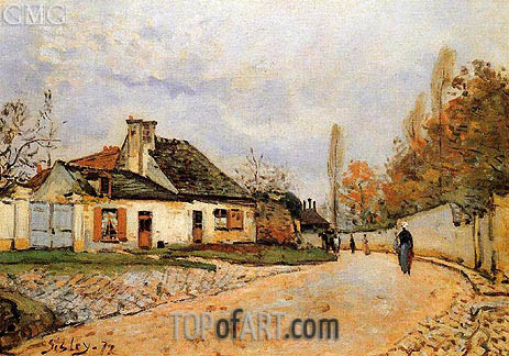 Neighborhood Street in Louveciennes, 1872 | Alfred Sisley | Painting Reproduction
