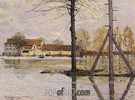 Ferry to the Ile-de-la-Loge, Flood, 1872 | Alfred Sisley | Painting Reproduction