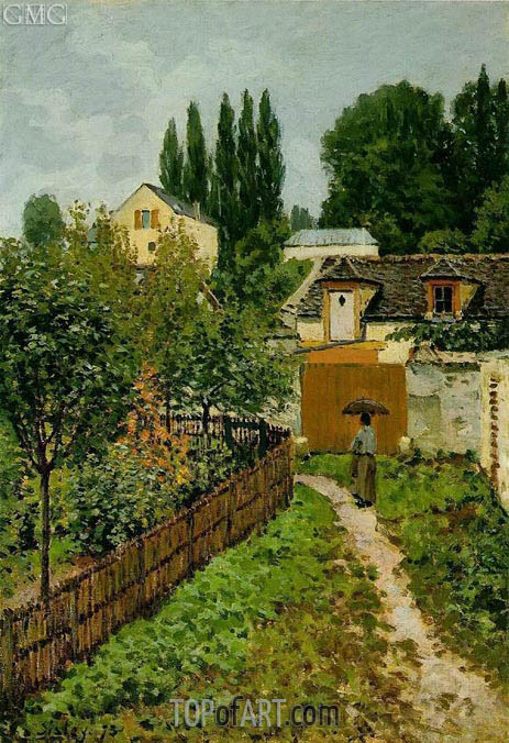 Garden Path in Louveciennes (Chemin de l'Etarch), 1873 | Alfred Sisley | Painting Reproduction