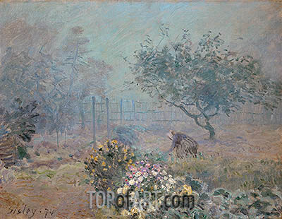 Foggy Morning, Voisins, 1874 | Alfred Sisley | Painting Reproduction