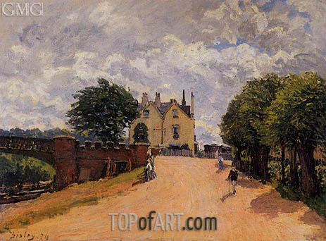 Inn at East Molesey with Hampton Court Bridge, 1874 | Alfred Sisley | Painting Reproduction