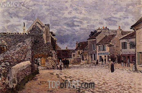 Village Street - Grey Weather, 1874 | Alfred Sisley | Painting Reproduction