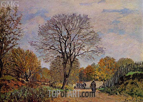 A Road in Seine-et-Marne, 1875 | Alfred Sisley | Painting Reproduction