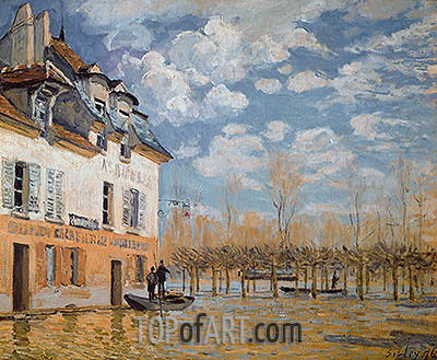 The Boat in the Flood, Port-Marly, 1876   Alfred Sisley   Painting Reproduction
