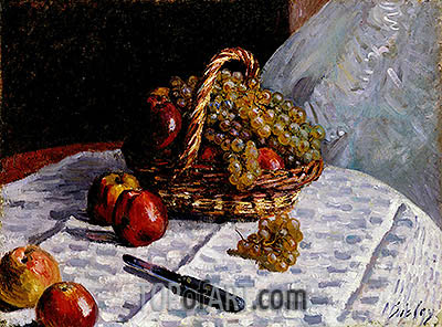 Still Life - Apples and Grapes, 1876 | Alfred Sisley | Painting Reproduction
