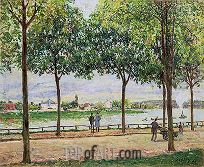Street of Spanish Chestnut Trees by the River, 1878 | Alfred Sisley | Painting Reproduction