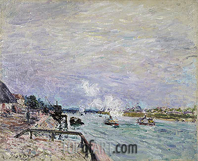 The Seine at Grenelle - Rainy Weather, 1878 | Alfred Sisley | Painting Reproduction