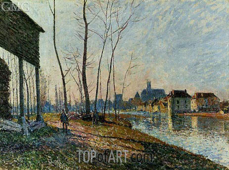 A February Morning at Moret-sur-Loing, 1881 | Alfred Sisley | Painting Reproduction