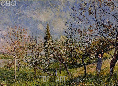 Orchard in Spring - By, 1881 | Alfred Sisley | Painting Reproduction