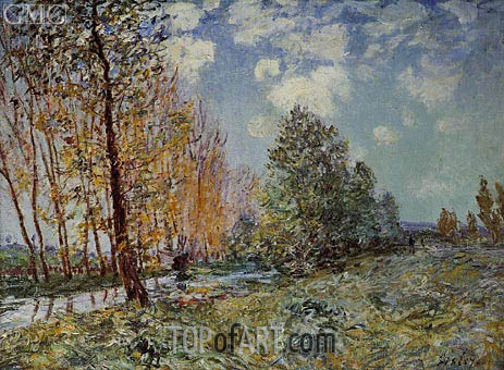 By the River, 1881   Alfred Sisley   Painting Reproduction