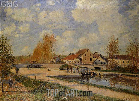 The Bourgogne Lock at Moret, Spring, c.1882 | Alfred Sisley | Painting Reproduction