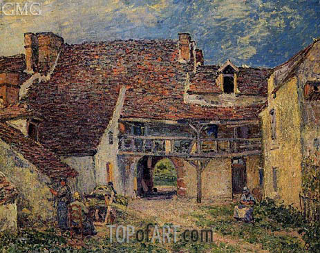Courtyard of Farm at Saint-Mammes, 1884 | Alfred Sisley | Gemälde Reproduktion