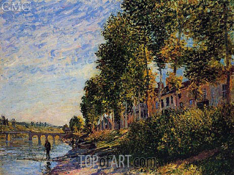 Morning Sun at Saint-Mammes, 1884 | Alfred Sisley | Gemälde Reproduktion