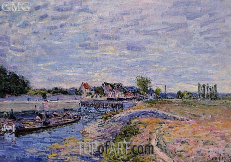 The Saint-Mammes Dam, 1885 | Alfred Sisley | Painting Reproduction