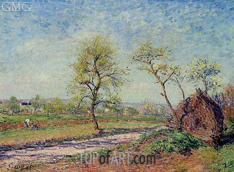 The Road from Veneux to Moret on a Spring Day, 1886 | Alfred Sisley | Gemälde Reproduktion