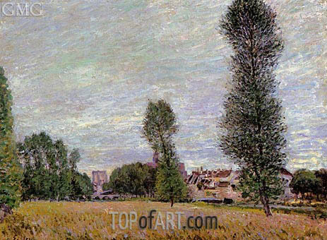 The Village of Moret, Seen from the Fields, 1886 | Alfred Sisley | Gemälde Reproduktion