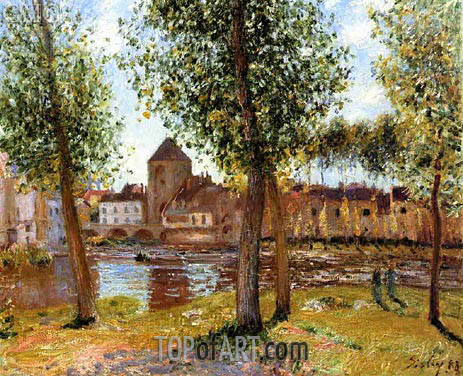 Poplars at Moret-sur-Loing, August Afternoon, 1888 | Alfred Sisley | Gemälde Reproduktion
