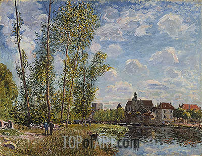 Moret, View from the Loing, May Afternoon, 1888 | Alfred Sisley | Gemälde Reproduktion