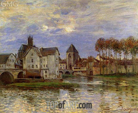The Moret Bridge at Sunset, 1892 | Alfred Sisley | Painting Reproduction