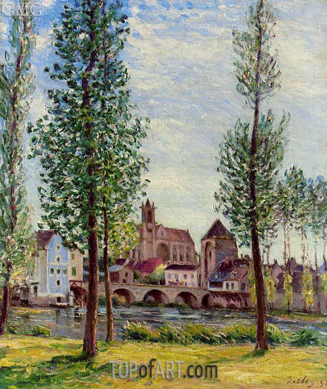 View of Moret-sur-Loing through the Trees, 1892 | Alfred Sisley | Gemälde Reproduktion