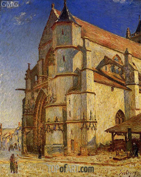 The Church at Moret in the Morning Sun, 1893 | Alfred Sisley | Gemälde Reproduktion