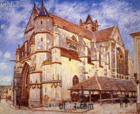 The Church at Moret, Afternoon, 1894 | Alfred Sisley | Gemälde Reproduktion
