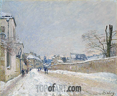 Rue Eugène Moussoir at Moret: Winter, 1891 | Alfred Sisley | Painting Reproduction