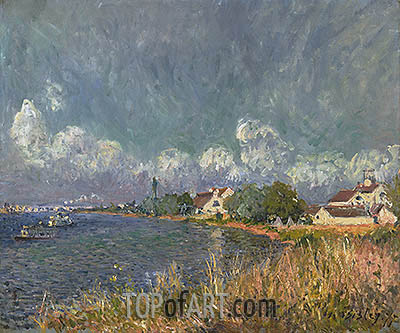 The Seine at Billancourt, 1877 | Alfred Sisley | Gemälde Reproduktion