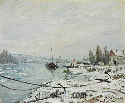 Mooring Lines, the Effect of Snow at Saint-Cloud, 1879 | Alfred Sisley | Gemälde Reproduktion