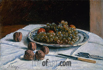 Grapes and Walnuts on a Table, 1876 | Alfred Sisley | Gemälde Reproduktion
