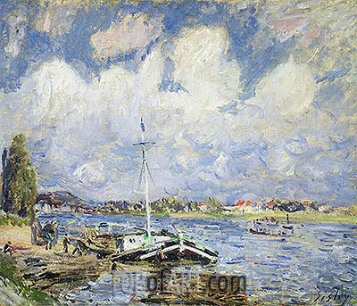 Boats on the Seine, c.1877 | Alfred Sisley | Painting Reproduction