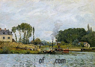 Boats at the Lock at Bougival, 1873 | Alfred Sisley | Painting Reproduction