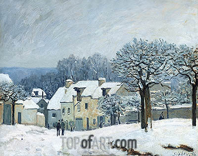 The Place du Chenil at Marly-le-Roi, Snow, 1876 | Alfred Sisley | Gemälde Reproduktion