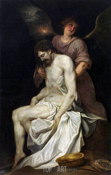 The Dead Christ held by an Angel, c.1646/52 | Alonso Cano | Painting Reproduction