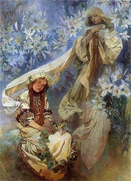 Madonna of the Lilies, 1905 by Alphonse Mucha | Painting Reproduction