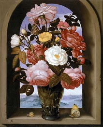 Still Life with Roses in a Berkemeijer Glass, undated by Ambrosius Bosschaert | Painting Reproduction